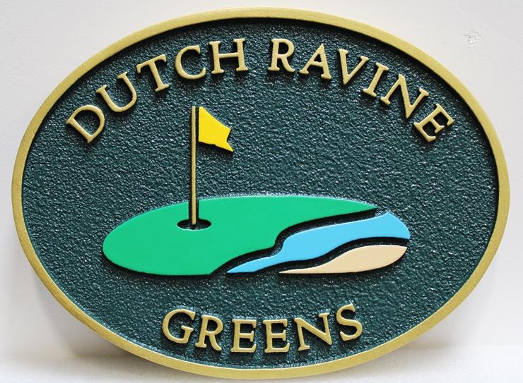 E14235 - Carved and Sandblasted High-Density-Urethane Sign  for Dutch Ravine Greens