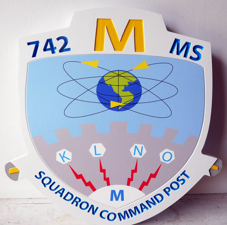 LP-4080 - Carved Shield Plaque of the Crest of the 742 MS Squadron Command Post, Artist Painted