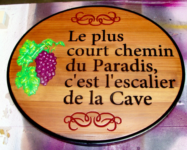 R27043 - Engraved Redwood Plaque with 3D Carved Grape Cluster