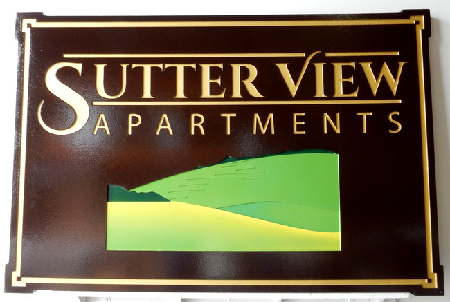 "K20165A - Carved Cedar Wood Sign for ""Sutter View"" Apartments , with 24K Gold Text and  Scene of Meadow and Mountains"