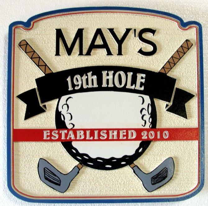 E14660  - Nineteenth Hole Golf Home Bar Sign