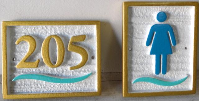 T29200 - Carved 2.5-D High-Density-Urethane  Room Number Plaque, Sandblasted in Wood Grain