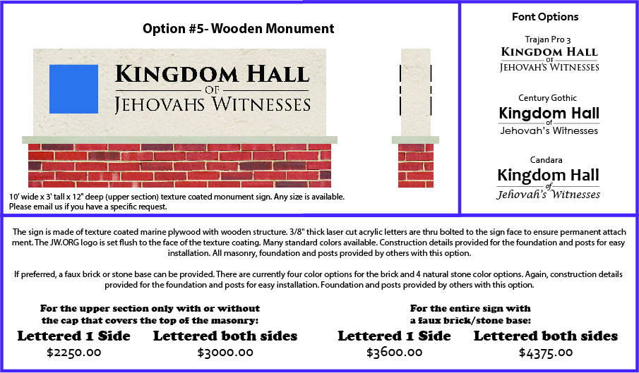 Precision Signs, Inc  : Kingdom Hall Monument Order Form