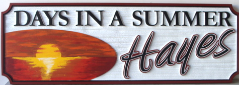 L21216- Carved Beach House Sign with Sunset over Ocean