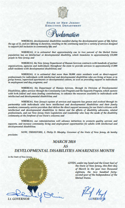 2018 New Jersey General Assembly Resolution: March is DD Awareness Month