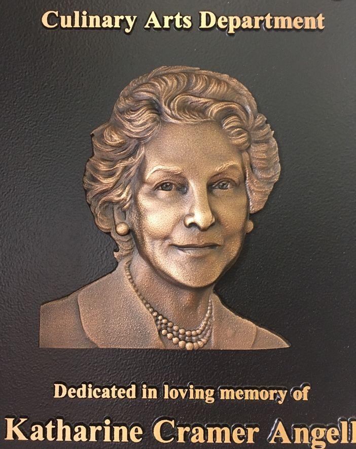 M7525 - Cast BronzeMemorial Wall Plaque with 3D Bas-Relief Sculpted Portrait