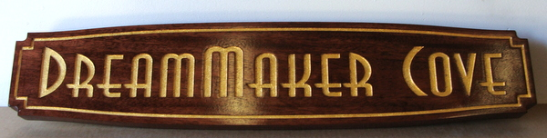 "L21868 - Carved Mahogany Quarterboard Sign with Gold Leaf Gilded Text for Seashore Home ""Dreammaker Cove"""