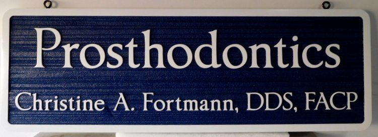 "BA11658 - Carved and Sandblasted Wood Grain  Sign for a ""Prosthodontics"" Office"