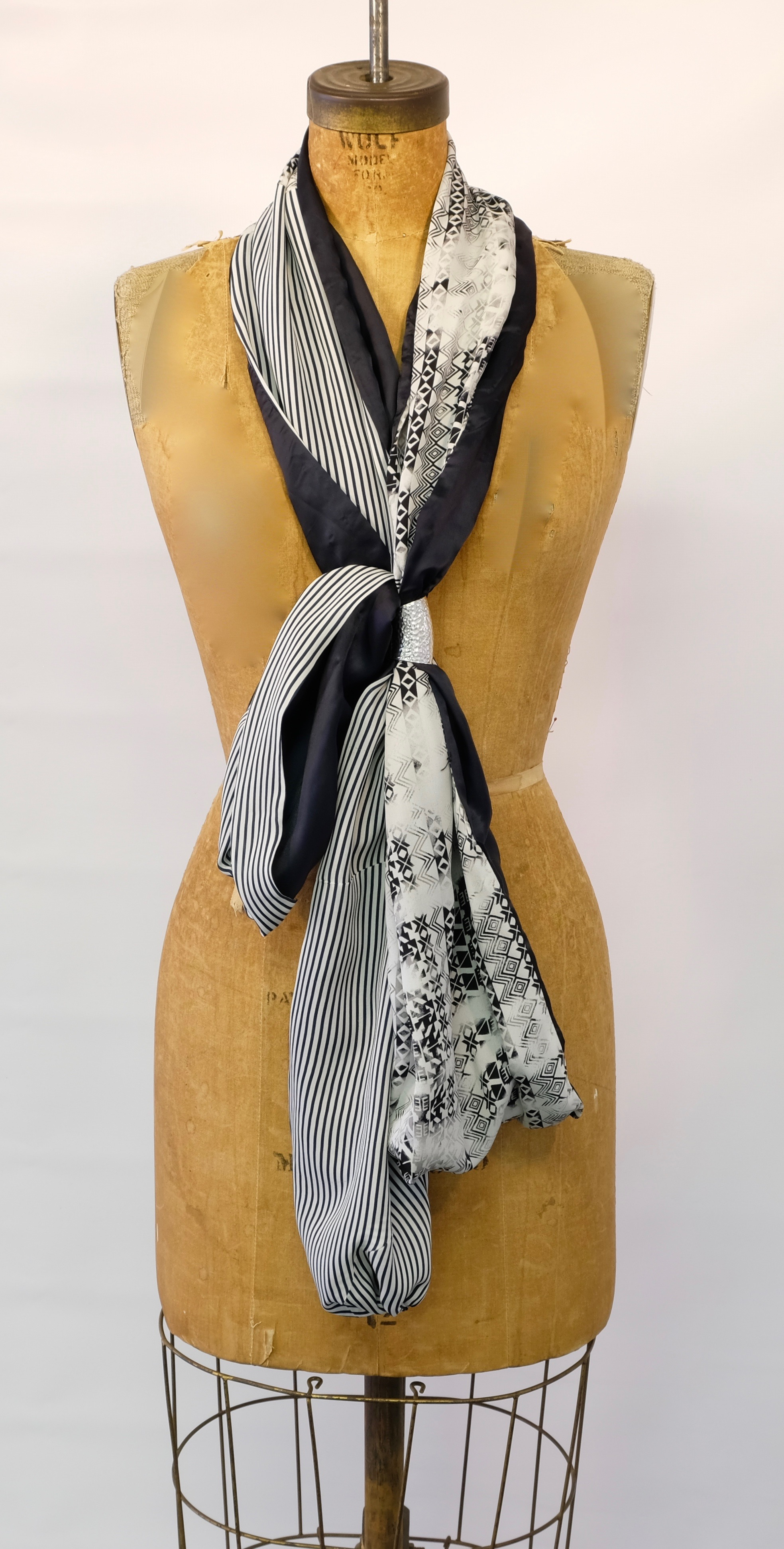 Silk Knot Scarf w/Metal Broach