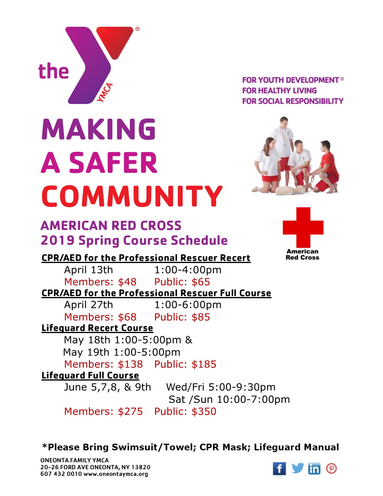 Red Cross Spring Course Schedule