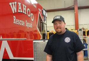 -Pictured is Grant Anderson, first fulltime EMT hired by the City of Wahoo