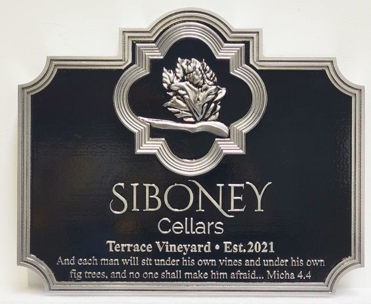 R27016 - Elegant Carved 3D Bas-Relief Aluminum-Plated HDU Sign for Sibony Cellars of the Terrace Vineyard