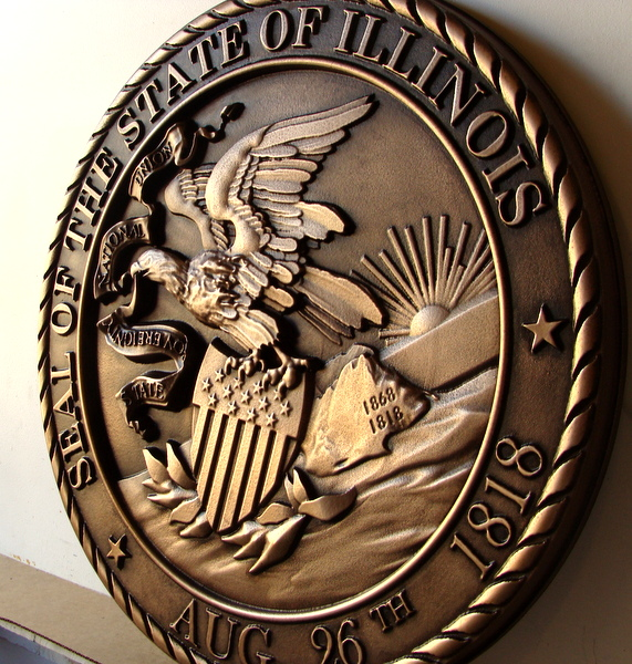 M7007 - Bronze Wall Plaque of the Seal of the State of Illinois, Right Side View