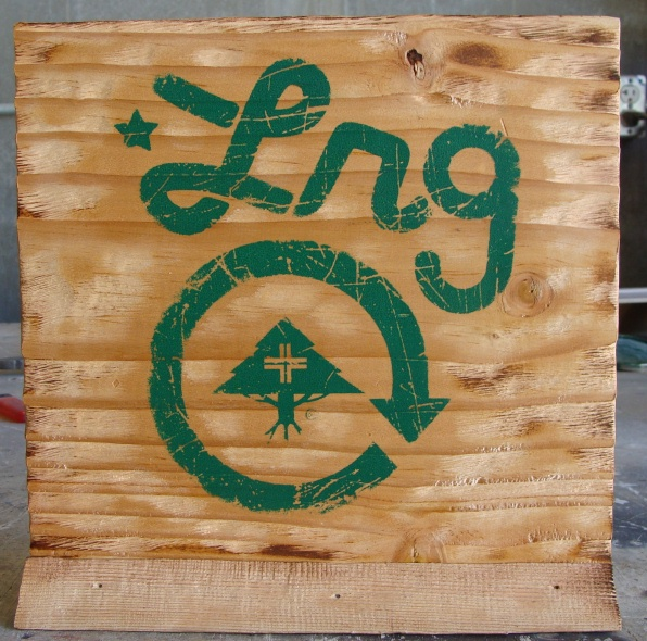 "SB28955 - Carved Distressed Sandblasted Cedar Wood Plaque ""Lrg""  for a Store Display of the Brand"