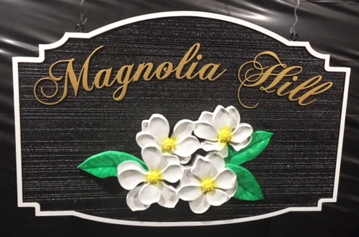 "I18207 - Carved 3D and Sandblasted  Property Name Sign ""Magnolia Hill"", with Magnolia Blossum"