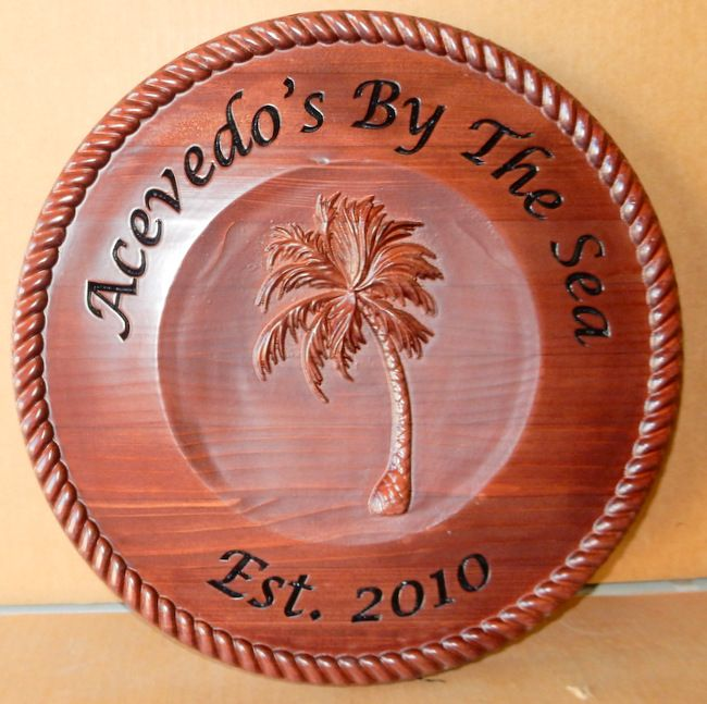 N3082 - Carved Cedar Wood Seaside Residential Sign with Carved 3D Palm Tree and Carved Wooden Rope (Gallery 20)
