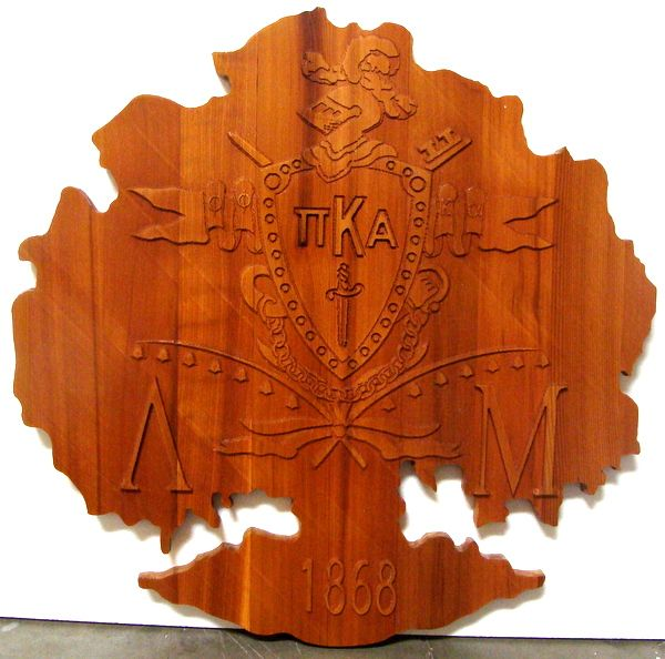 Y34560 - Carved 2.5-D (Flat Relief) Cedar Wall Plaque  for Pi Kappa Alpha Fraternity Coat-of-Arms in the Shape of a Tree