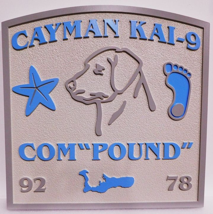 "L21103 - Carved and Sandblasted ""Cayman Kai-9 Com-""Pound"""" Beach-house Sign, with  Footprints, Dog's Head, and Starfish"