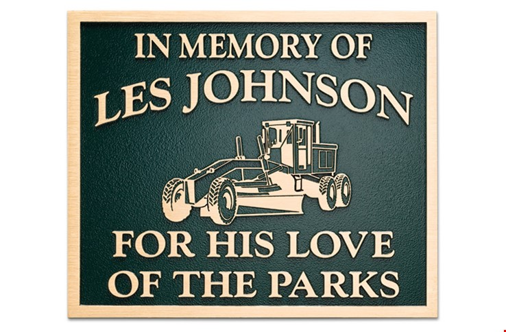"""M7536  - Precision Machined Distinguished Memorial  Plaque """"For the Love of the Parks"""""""