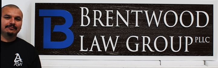 A10427 - Carved  Cedar Wood Entrance sign for the offices of the Brentwood Law Group