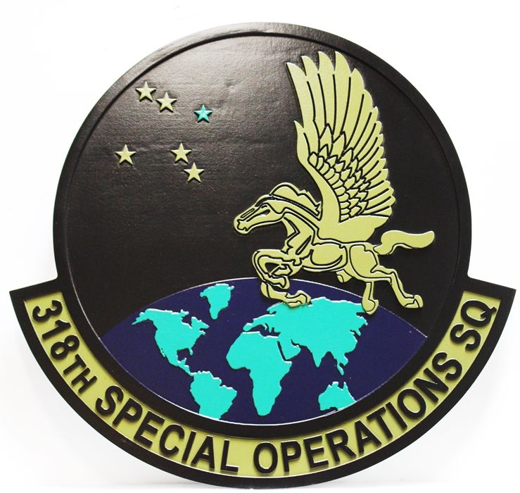 LP-3640 - Carved Round Plaque of the Crest of the 318th Special Operations Squadron, Artist Painted