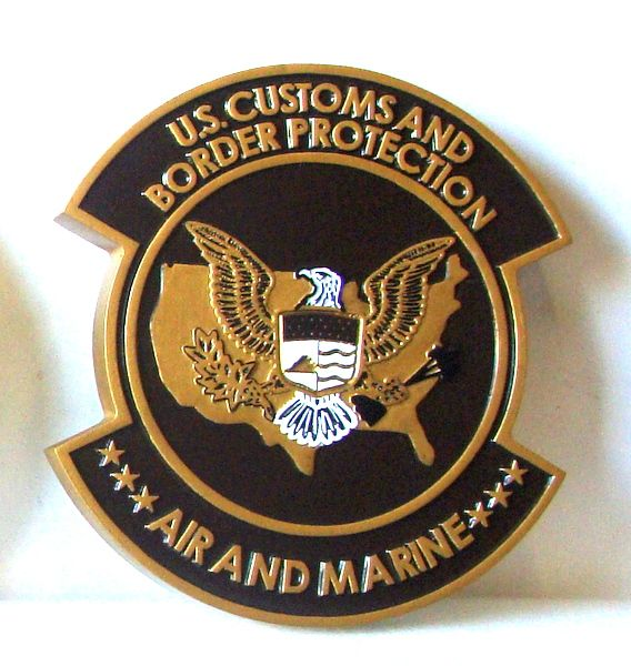 U30353 - Carved Mahogany  Wall Plaque for US Customs and Border Protection, Air and Marine Division