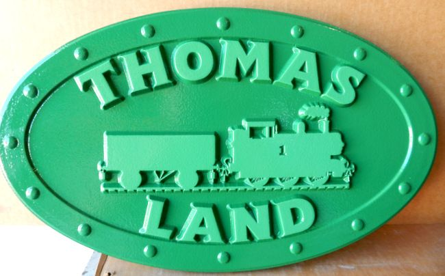 GA16534 - Carved, HDU Sign with Train Locomotive on Vintage Locomotive Steel Plate with Rivets
