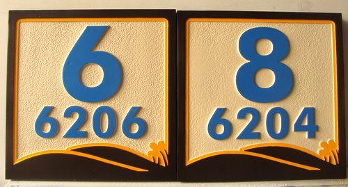 KA20892 - Carved 2.5D Apartment Number Plaques