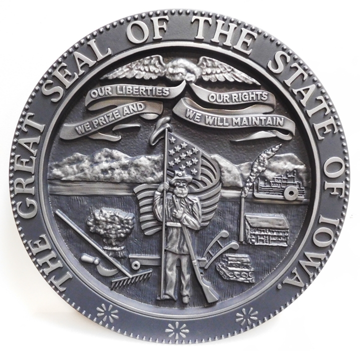 BP-1227 - Carved Plaque of the Great Seal of the State of Iowa, Aluminum-Plated