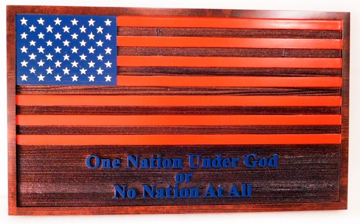 "AP-1142 - US Flag with ""One Nation Under God"" quote, Western Red Cedar"