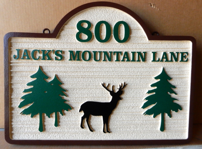 M22614 - Carved HDU Sign for Jack's Mountain Lane