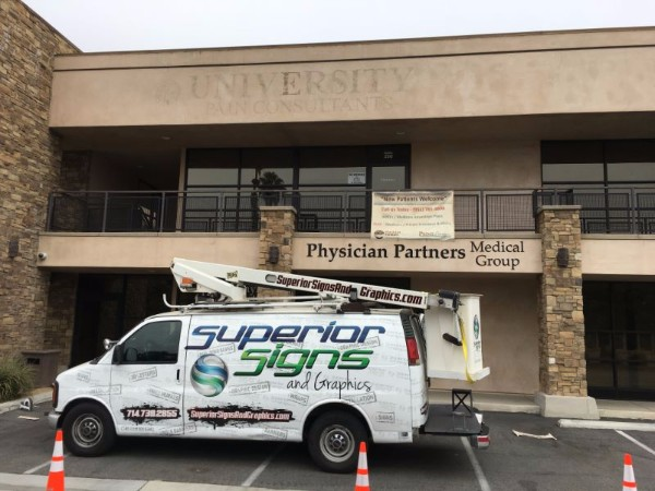 Exterior building sign removal in Orange County CA
