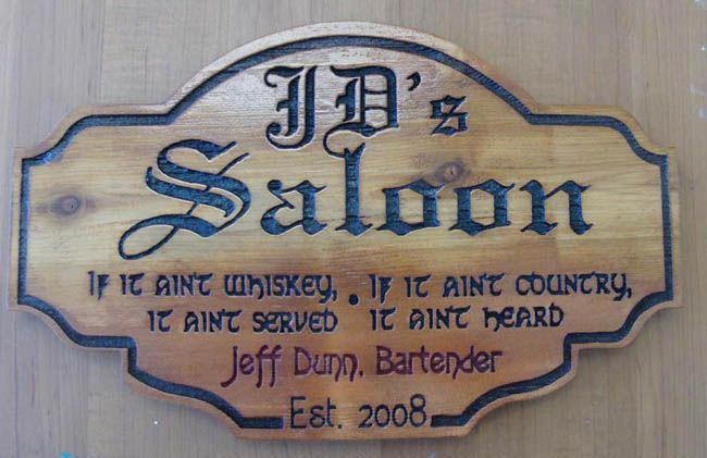 "FG608 - Engraved Cedar Wall Plaque for a Home Bar or Saloon  with Saying "" If it Ain't Whiskey, It Ain't Served"""