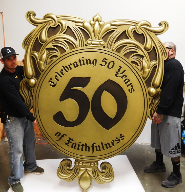 XP-1225 - Carved Plaque of Crest Celebrating 50 Years of Faithfulness, 3-D Brass Plated