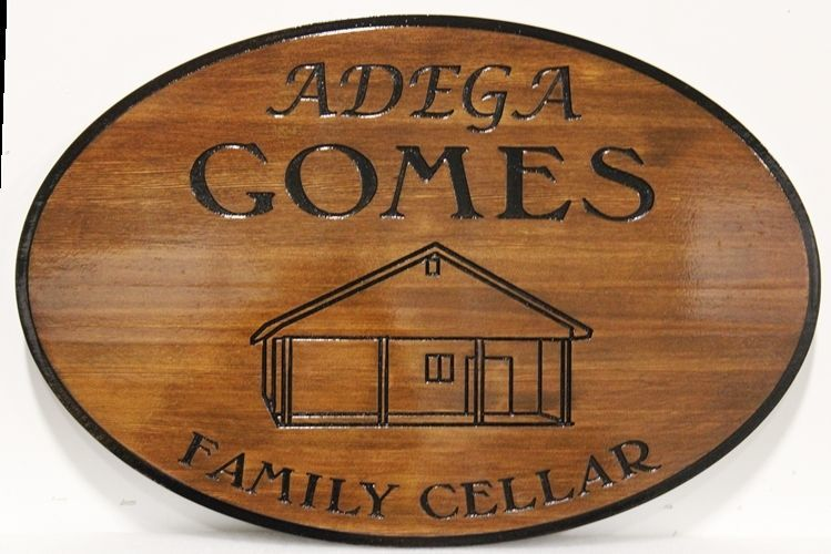 R27381 - Engraved Western Red Cedar Wood Sign for the Adega Comes Family Cellar
