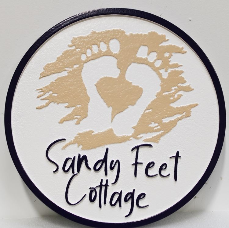 "L21100 - Carved and Sandblasted 2.5-D Multi-level relief HDU Beach House Name  Sign ""Sandy Feet Cottage"", with Footprints in the Sand as Artwork"
