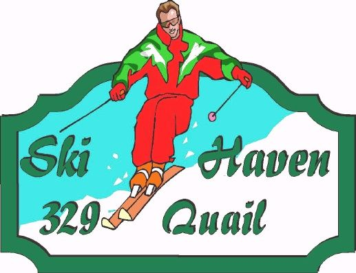 M22238 - Design of Address Sign for Ski Haven with Skier on Mountain