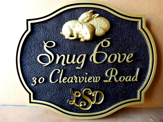 I18552 - Carved 3-D Property Name and Adress Sign, with Two Baby Bunnies