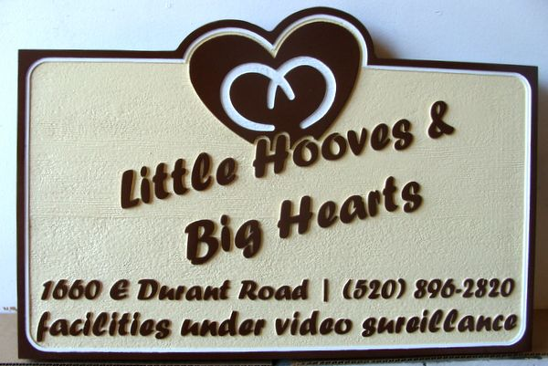 """P25150 - Carved and Sandblasted HDU Sign for """"Little Hooves and Big Hearts"""" Equestrian Facility"""