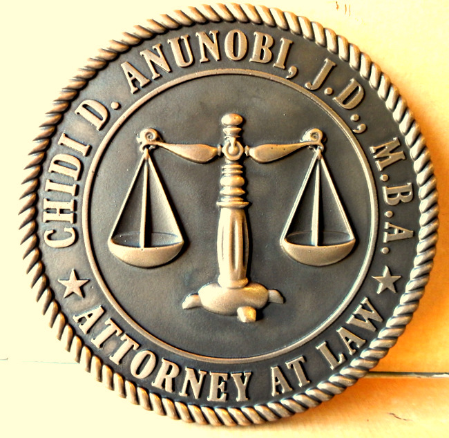 M7150 - Brass Wall Plaque for a law Office, with Scales of Justice