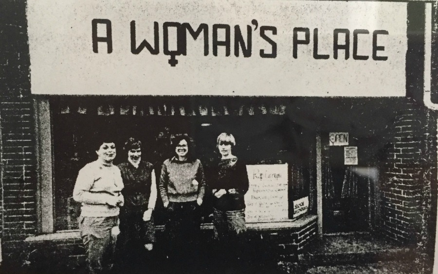 Outside of the first drop-in counseling center for women, staff members Doris Payne, Beverly Frantz, Mary Jane Kirkpatrich, and Patricia Groff.