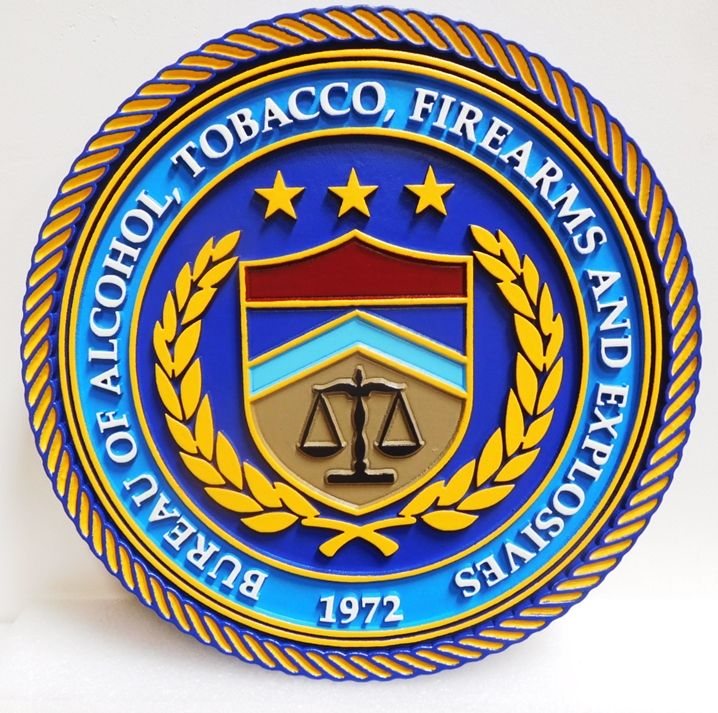 AP-2550 - Carved Plaque of the Seal of the Bureau of Alcohol, Tobacco, Firearms and Explosives (ATF)