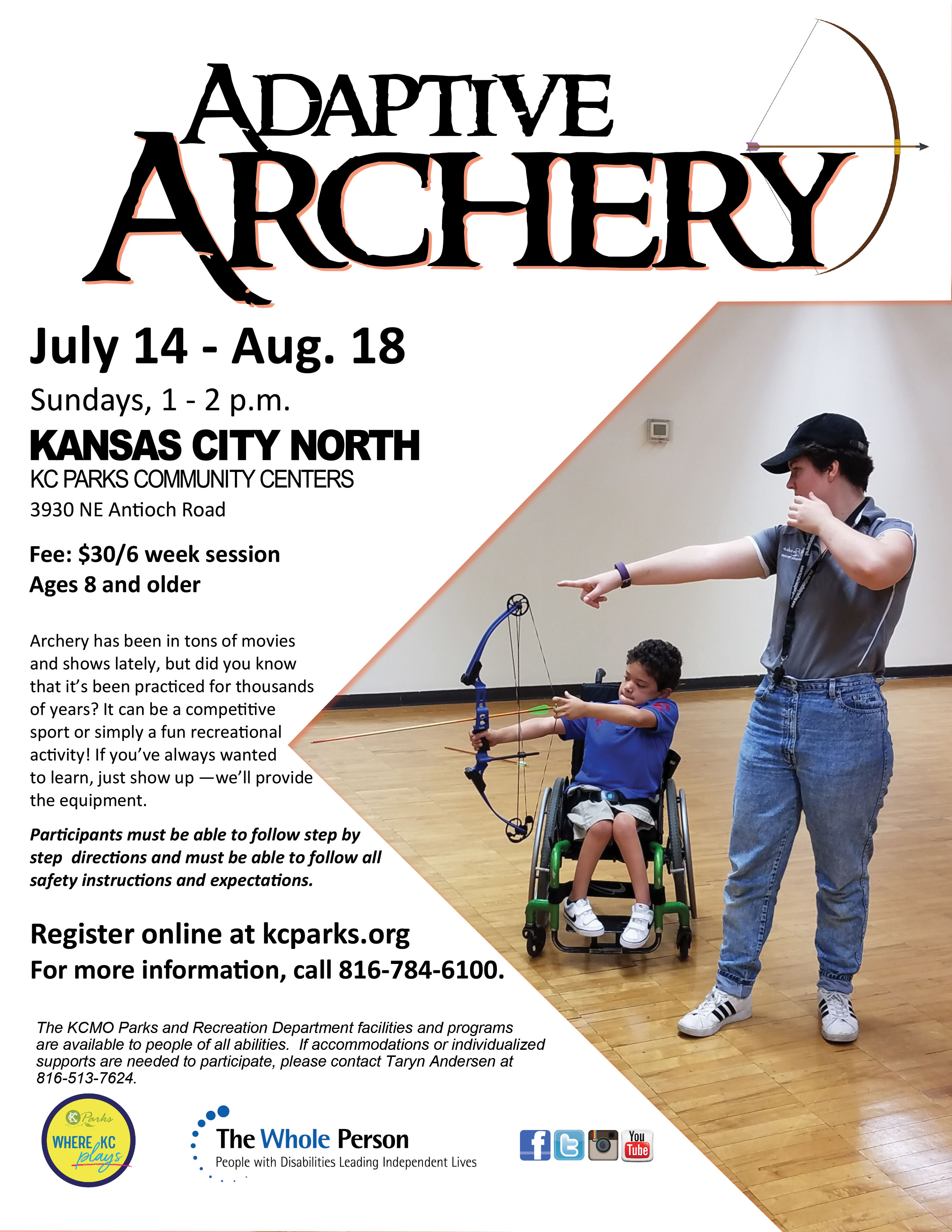 Image of flyer advertising Adaptive Archery workshop