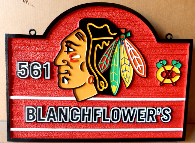 M22999C - Sandblasted Carved HDU Address Sign for Flower Shop, Painted Indian with Tomahawk and Feathers