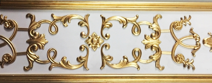 XP-1395 - Carved Plaque with Ornate  Flourishes, 3-D Brass Plated