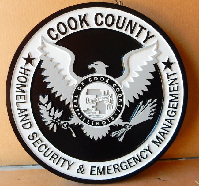 X33421 - 2.5-D Carved  Wall Plaque of Logo of Cook County Homeland Security and Emergancy Management, with Stylized Eagle and Seal