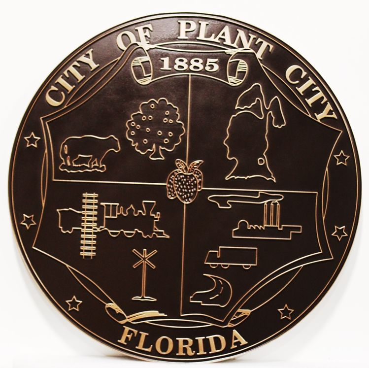 DP-1990 -  Engraved Plaque of the Seal of the Plant City, Florida