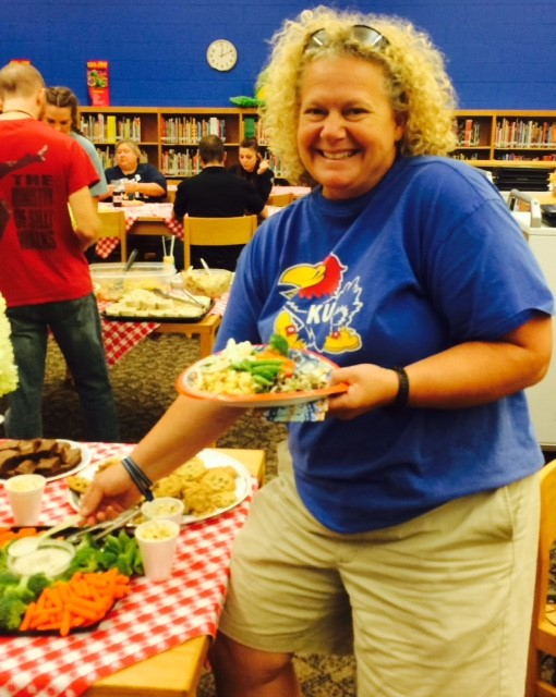 Sarah Fields, teacher for the visually impaired, at Faxon Elementary School's Back to School Teacher and Staff luncheon.