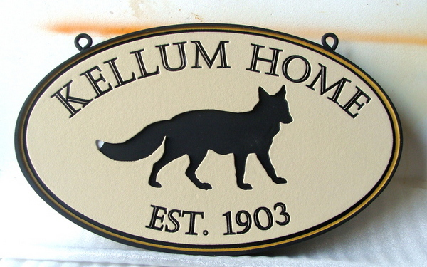 "I18558 - Engraved Residence Name Sign, ""Kellum Home"", with Coyote"