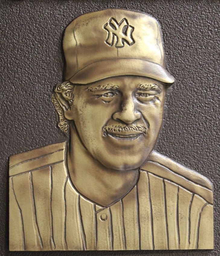 WP-1003 - Closeup of  Carved Commemorative Wall plaque honoring  a  NY Yankee Baseball Player, 3-D Brass-Plated